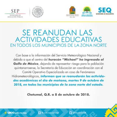 Mañana se reanudan las clases en todo Quintana Roo