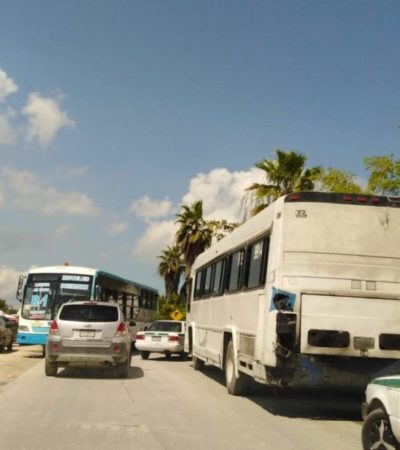 Transporte de 'segunda' mueve a miles de albañiles de Cancún a Isla Mujeres