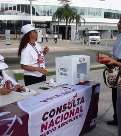 Guardias de seguridad de Las Américas en Cancún obstruyen consulta sobre el NAICM