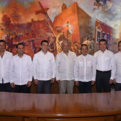 Reúne AMLO a gobernadores de cinco estados y diversas filias políticas para afinar el Tren Maya