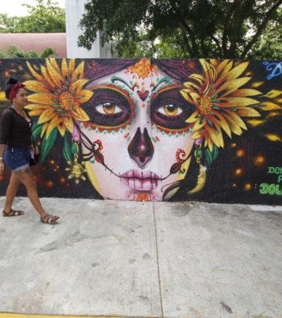 ARTISTAS DAN VIDA A LAS BARDAS DEL PANTEÓN 'LOS OLIVOS': Murales llenos de color cambian la imagen del cementerio de la Región 98 de Cancún