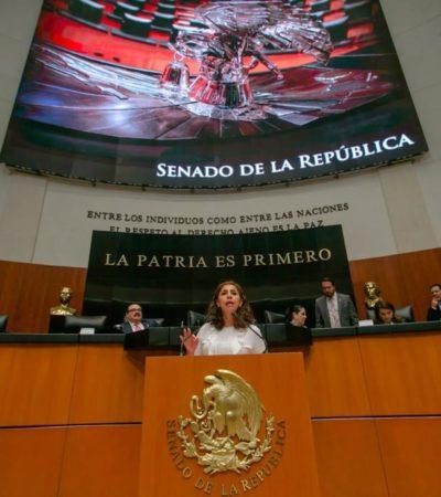 Playa Delfines y las playas públicas de Quintana Roo no se venden, dice Marybel Villegas en el Senado