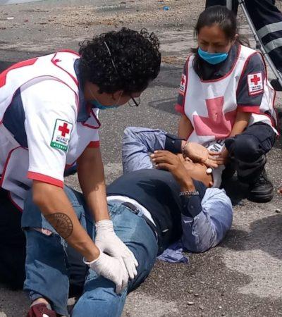 Motociclista resulta lesionado en accidente vehicular, en Chetumal