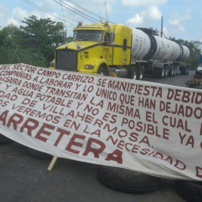 Impide protesta de pobladores distribución de gasolina en Tabasco; ya se resiente el desabasto