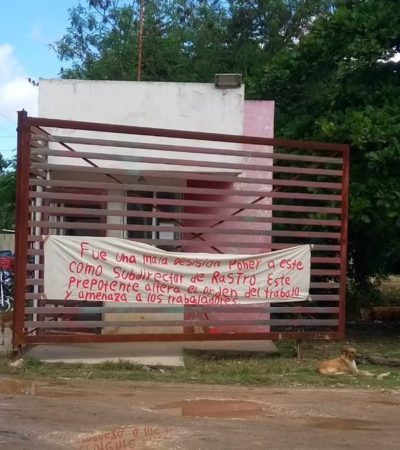 Inician empleados plantón indefinido para exigir destitución del subdirector del rastro en Campeche