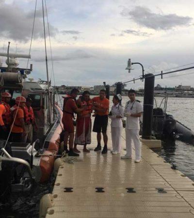 Rescatan Marinos a cuatro náufragos en Yucatán; pasaron un día a la deriva en altamar