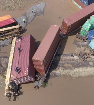 Descarrila tren de carga en Michoacán por inundaciones; sólo dos operadores lesionados
