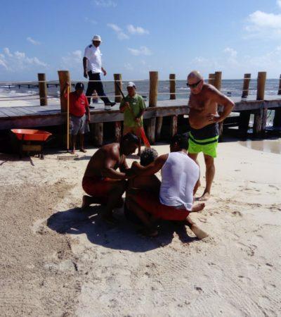Atienden a turista rusa a punto de ahogarse en playa de Xcalacoco