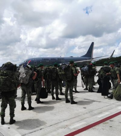 Llega a Cancún un segundo refuerzo de tropas del Ejército que se integrarán a la Décima Brigada de Policía Militar