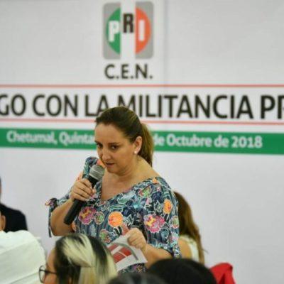 Claudia Ruiz Massieu, presidenta del PRI nacional, se reúne con priístas quintanarroenses dolidos por los resultados de las elecciones; asegura que comenzarán una etapa de reconciliación