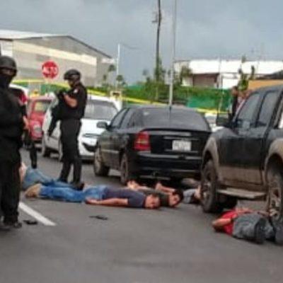 OPERATIVO POLICIACO EN LA REGIÓN 249: Detienen a 6 presuntos extorsionadores en el fraccionamiento Cielo Nuevo; un herido
