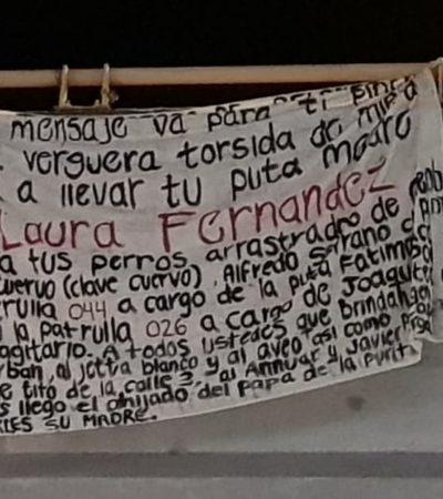"""""""TÚ, PROTECTORA DE PELONES…"""": Cuelgan en puente una supuesta narcomanta con amenazas contra Alcaldesa de Puerto Morelos y su jefe policiaco"""