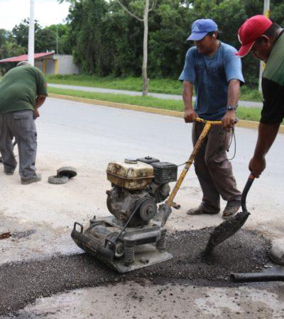 Realiza Ayuntamiento de Cozumel trabajos de bacheo en más de 10 colonias