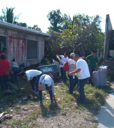 Para prevenir enfermedades transmitidas por vector, eliminan criaderos de mosquitos en Leona Vicario