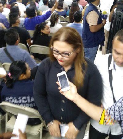 Lorena Hernández, directora del Centro de Control y Confianza de QR, huye de los medios de comunicación para evitar cuestionamientos sobre las estrategias de seguridad