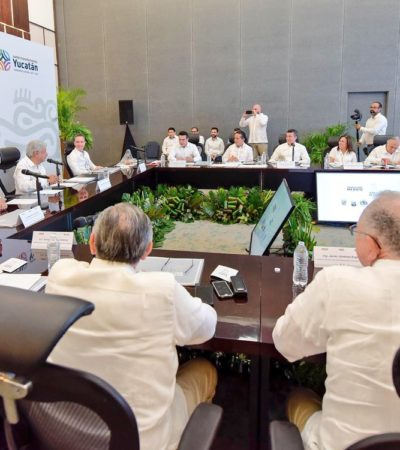 TENDRÁ TREN MAYA ARRANQUE 'SIMBÓLICO' EN DICIEMBRE: Se reúne AMLO en Mérida con Gobernadores del Sureste