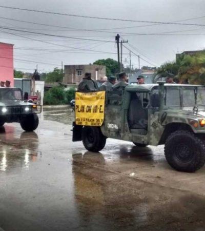 Aplica Ejército Plan DNIIIE preventivo en Campeche por lluvias intensas