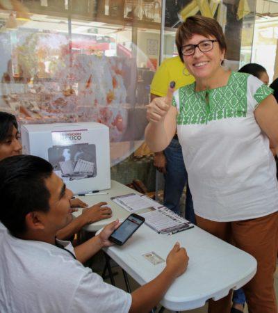 VOTA LAURA BERISTAÍN EN CONSULTA DE AMLO: Dice Alcaldesa que Tren Maya impulsará el progreso del país