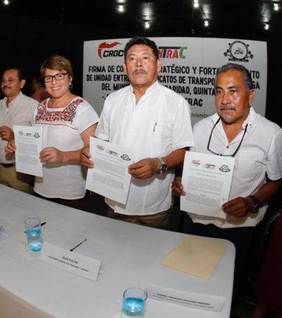 Firma Alcaldesa convenio de colaboración con los sindicatos de la CROC, Untrac y volqueteros en Playa del Carmen