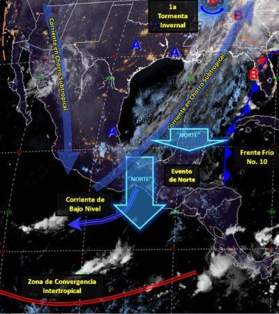 Días fríos y lluviosos para Quintana Roo por Frente Frío 10