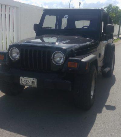 Localizan Jeep con reporte de robo en Cozumel