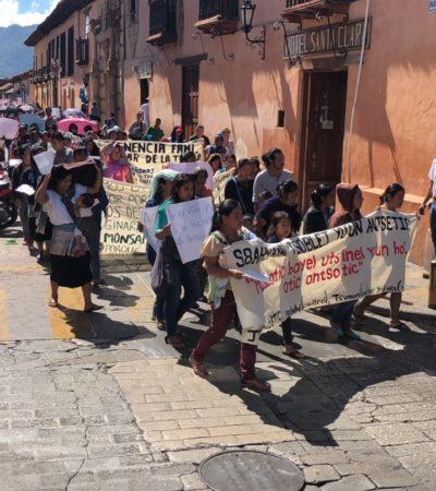 Protestan mujeres indígenas de Chiapas contra consulta 'ciudadana' del Tren Maya y violencia machista