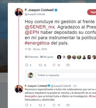 Se despide Joaquín Coldwell en redes sociales