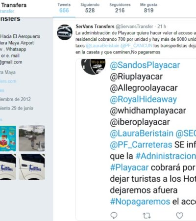 Advierten posible cobro para entrar a Playacar