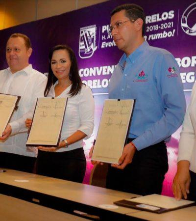 Firma Ayuntamiento de Puerto Morelos convenio de colaboración con la Congregación Mariana Trinitaria