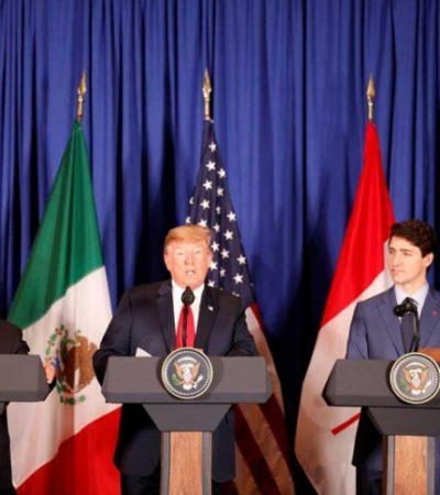 """HAY TRATADO PARA RATO: Firman Peña, Trump y Trudeau el acuerdo comercial T-MEC; """"es revolucionario"""", dice el estadounidense"""
