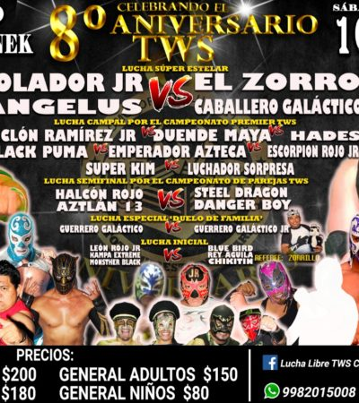 TIRARÁN LA CASA POR LA VENTANA: Sábado de lucha libre en el 'Jacinto Canek' de Cancún