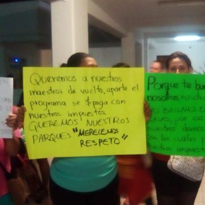 DA LAURA BERISTAÍN MARCHA ATRÁS: Tras una jornada de protestas de maestros y alumnos de zumba, acuerda Solidaridad continuar programa de baile 'Playactívate'