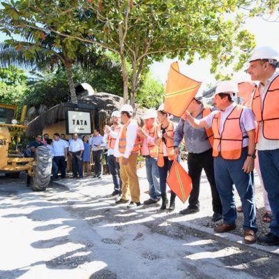 Inician obras de reparación del camino a Punta Allen, Carretera Costera y calles del Centro de Tulum con inversión de 12.6 mdp