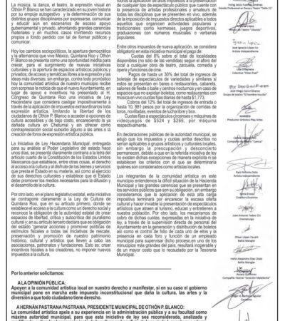 Artistas de Chetumal rechazan iniciativa del Ayuntamiento que busca cobrar por realizar muestras y expresiones culturales y artísticas