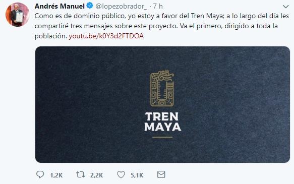 Publica AMLO mensajes sobre Tren Maya en Twitter