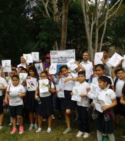 Para promover la cultura turística sustentable, alumnos de Puerto Morelos visitan la Reserva Toh