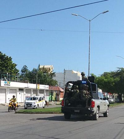 Elementos del Ejército Mexicano cubren funciones de policías, tras desprotección de Chetumal con el traslado del 50 por ciento de fuerza policíaca a Cancún