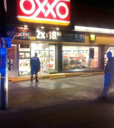 ATRACO EN LA MADRUGADA: Amagan a empleados y se llevan cajero automático de un Oxxo de la Avenida Nichupté en Cancún