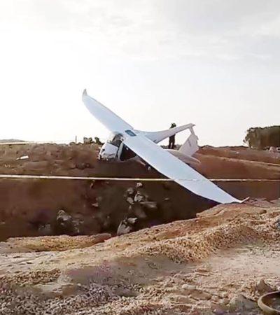 Se desploma avioneta en Calica; se reportan dos personas lesionadas