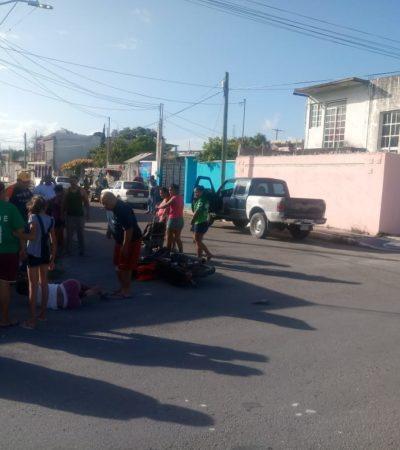 Camioneta arrolla a motociclista en Chetumal