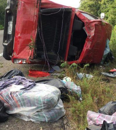 Resultan ilesos tras aparatoso accidente en el tramo Felipe Carrillo Puerto-Tulum