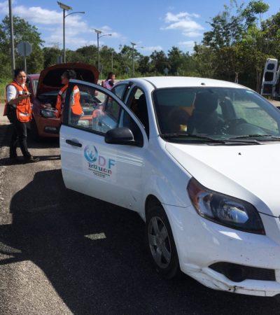 Choca vehículo del DIF de Teotihuacán en Carrillo Puerto