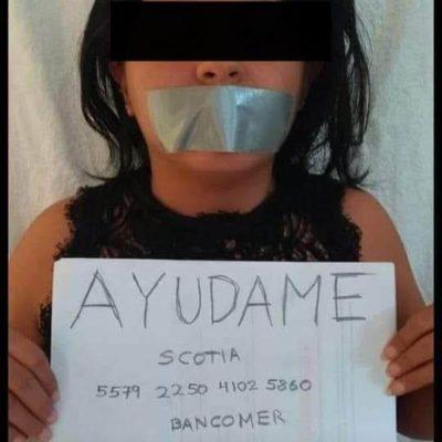 """""""AYÚDAME"""": Circula fotografía de la presunta joven desaparecida en Cancún en la que está con la boca tapada y una hoja con cuentas bancarias"""