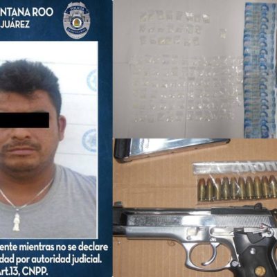 Detienen a un hombre con drogas y un arma en Cancún