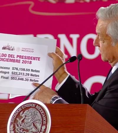 AMLO NO SE DEJA 'MAICEAR': Devuelve a la Tesorería 22 mil 313 pesos pagados de más en su primera quincena