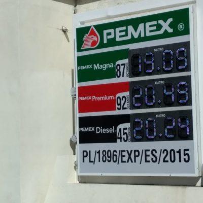 Baja precio de la gasolina en Chetumal