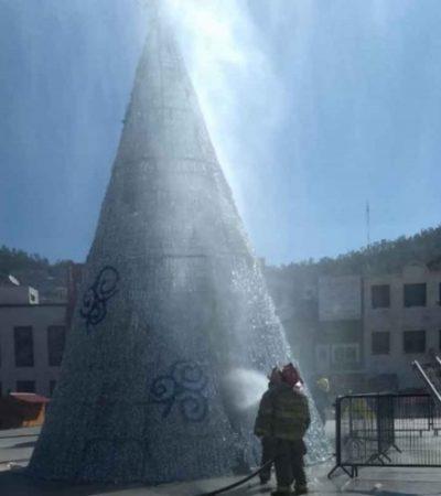 EL 'GRINCH' ESTÁ EN HIDALGO: Pachuqueño prende fuego al árbol navideño de la ciudad