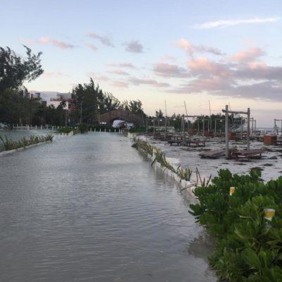 Holbox, con puerto cerrado y calles inundadas