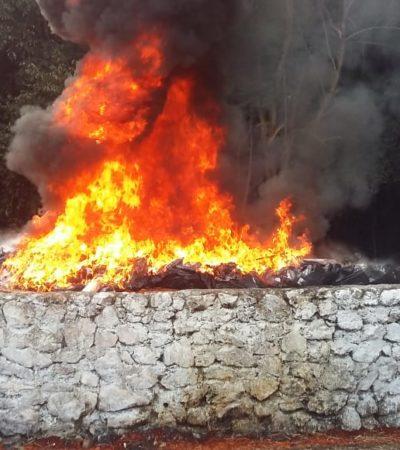Incineran 1,500 kilos de cocaína decomisada en aeronave que aterrizó en aeropuerto de Chetumal
