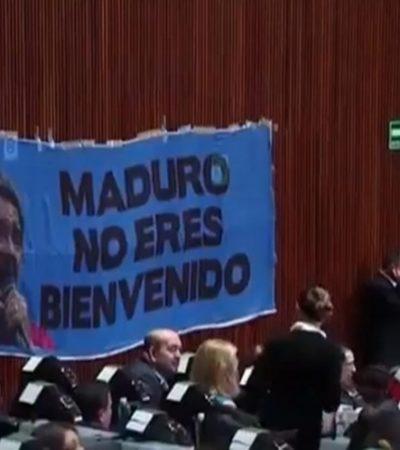 Cuelga PAN lona contra Nicolás Maduro en Salón de sesiones de la Cámara de Diputados